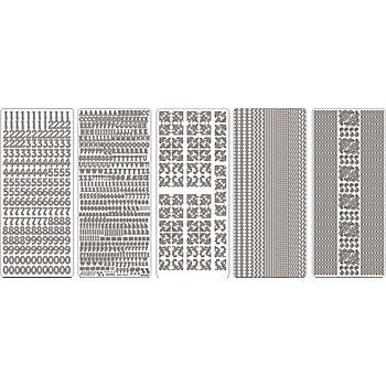 Set de stickers 'motifs standard', argenté, 23 x 10 cm