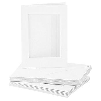 Passepartoutkarten, rechteckig, weiß, A6 / C6, je 10 Stück