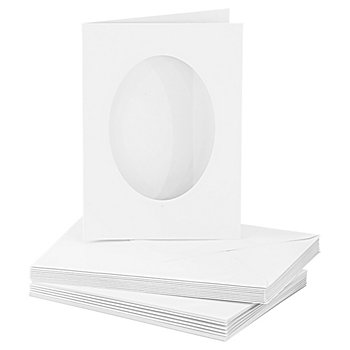 Passepartoutkarten, oval, weiß, A6 / C6, je 10 Stück