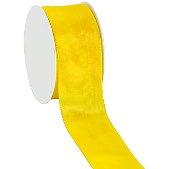 Ruban en tissu, avec bords laitonnés, jaune, 40 mm, 10 m