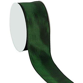 Stoffband mit Drahtkante, dunkelgrün, 40 mm, 10 m