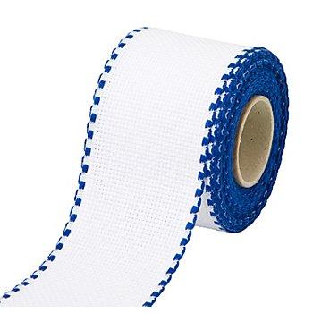 Aida-Stickband mit blauem Rand, Breite: 5 cm, 5m-Rolle