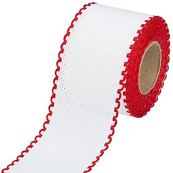 Ruban Aïda à broder, avec un bord rouge, largeur : 5 cm, rouleau de 5 m