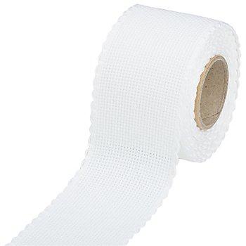 Ruban Aïda à broder, blanc, largeur : 5 cm, rouleau de 5 m