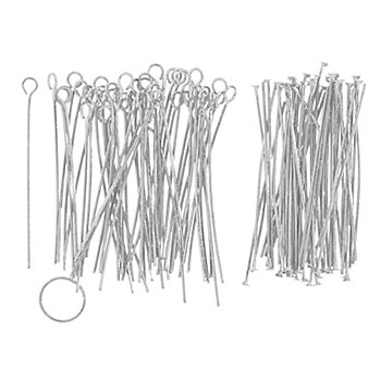 Kettel- und Nietstifte, silber, 4 cm, 100 Stück
