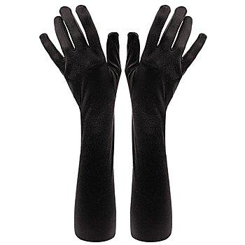 Satinhandschuhe lang, schwarz