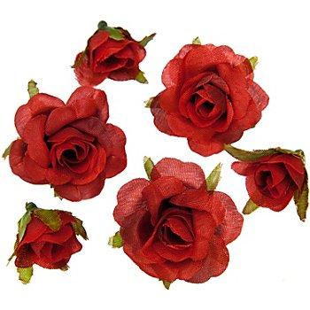 Rosenköpfe, rot, 1 - 2,5 cm Ø, 27 Stück