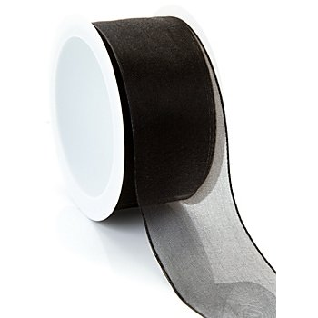 Ruban chiffon, noir, 40 mm, 5 m