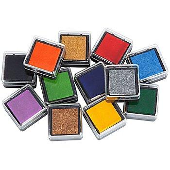 Stempelkissen-Set 'Grundfarben', 2,3 x 2,3 cm, 12 Stück