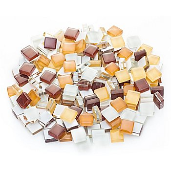 Tesselles en verre doux, tons marron, 10 x 10 mm, 200 g