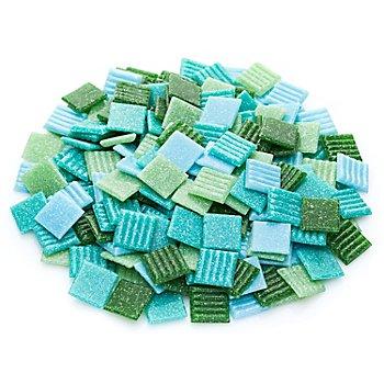 Tesselles en verre, tons verts, 20 x 20 mm, 750 g