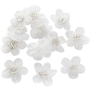 Organzablüten, weiß, 2,5 cm, 12 Stück