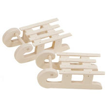 Mini luges en bois naturel, 2 pcs.