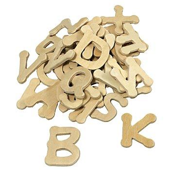 Lettres en bois brut, 2,5 cm, 52 pièces