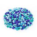Tesselles en verre, tons bleus, 10 x 10 mm, 750 g