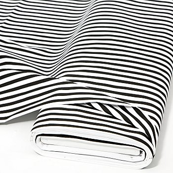 Tissu coton 'rayures', noir/blanc