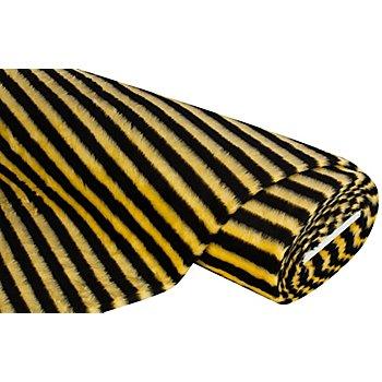 Tissu peluche 'rayures', jaune/noir