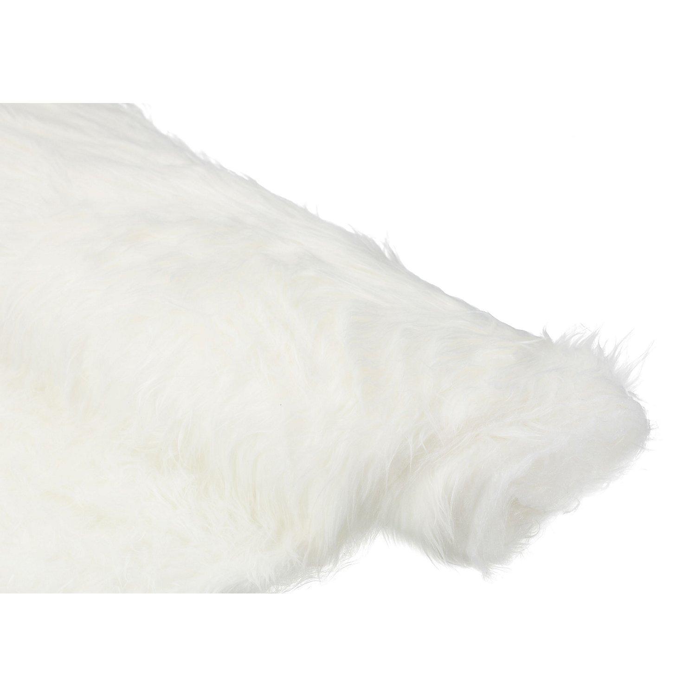 Tapis Long Poil Blanc imitation fourrure à poils longs, blanc