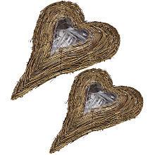 Set de cœurs en sarment de vigne, 40 cm et 30 cm, 2 pièces
