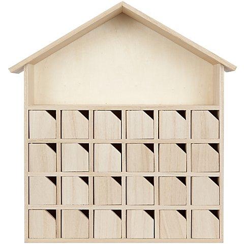 """Image of Adventskalender """"Haus"""" aus Holz mit Türchen, 32 x 7 x 34 cm"""