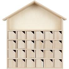 Calendrier de l'Avent 'maison' avec de petites portes, 32 x 7 x 34 cm