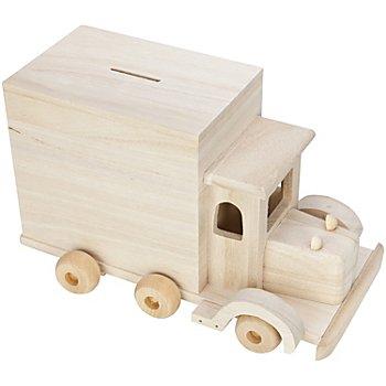 Spardose 'Lastwagen' aus Holz, 25 x 14 x 15 cm