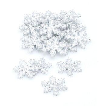 Streuteile 'Schneeflocken' mit Glitzer, 3 cm, 24 Stück