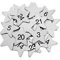 "Adventskalender-Zahlen ""Sterne"" aus Holz, silber, 3,5 cm"
