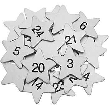 Adventskalender-Zahlen 'Sterne', silber