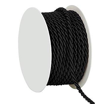 Cordelette, noir, 4 mm, 10 m