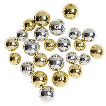 Perles rondes, doré/argenté, 12, 14, 16 mm Ø, 24 pièces