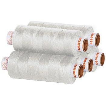 buttinette Lot de 5 bobines de fil à coudre universel, gris clair, grosseur : 100