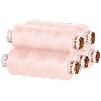 buttinette Lot de 5 bobines de fil à coudre universel, rose clair, grosseur : 100