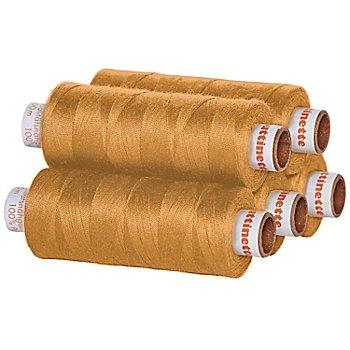 buttinette Universal-Nähgarn, Stärke: 100, 5er-Pack, ocker