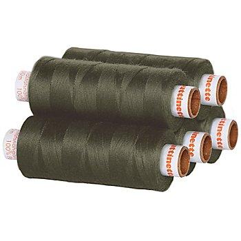 buttinette Lot de 5 bobines de fil à coudre universel, kaki, grosseur : 100