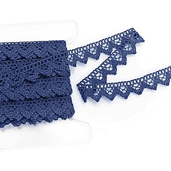 Galon de dentelle aux fuseaux, bleu, largeur : 2 cm, longueur : 5 m