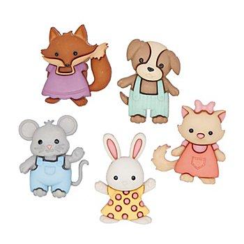 Boutons pour enfants 'animaux', dim. : 20 - 25 mm, 5 pcs.