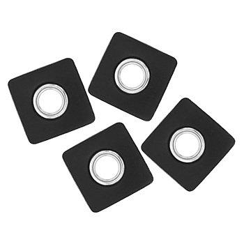 Kunstlederpatches mit Ösen, schwarz, 4 Stück