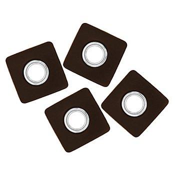 Patchs en imitation cuir avec œillet, marron foncé, 4 pièces