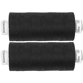 Fil à coudre en coton pour quilting, noir, grosseur : 50, 2 bobines de 500 m
