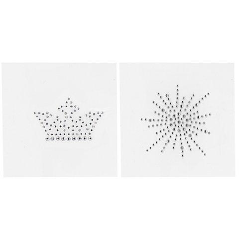 """Image of buttinette Strass-Applikationen """"Krone & Wirbel"""", 5 - 8 cm, Inhalt: 2 Motive"""