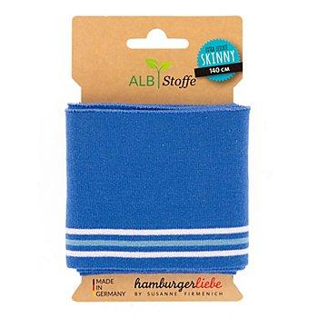 Albstoffe Bio-Feinstrickbündchen 'Cuff Me Skinny', blau/weiß/mint, 1,4 m