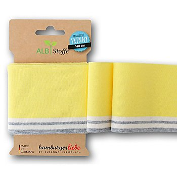 Albstoffe Bande bord-côte coton bio 'Cuff Me', jaune/blanc/gris, 1,4 m