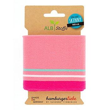 Albstoffe Bande bord-côte en coton biologique 'Cuff Me Skinny', rose/vert menthe/blanc, 1,4 m