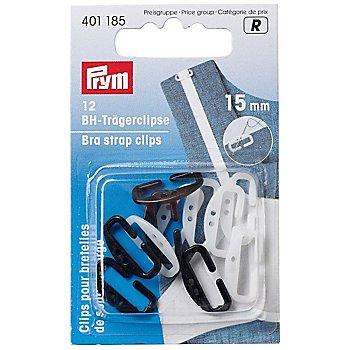 Prym Clips pour bretelles de soutien-gorge, 15 mm, blanc/noir