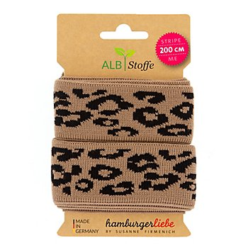 Albstoffe Ruban biologique 'léopard', marron/noir, 2 m