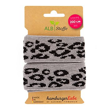 Albstoffe Bio-Band 'Leopard', grau/schwarz, 2 m