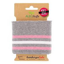 Albstoffe Bande bord-côte coton bio 'Cuff Me College', gris/blanc/rose, 1,4 m