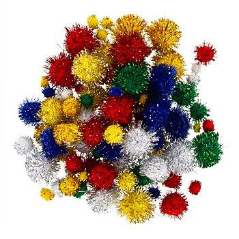 Pompons, glitzernd, 4 - 25 mm Ø, 100 Stück