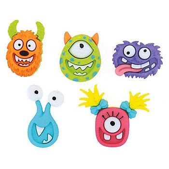 Kinderknöpfe Monster, Grösse: 22–24 mm, Inhalt: 5 Stück